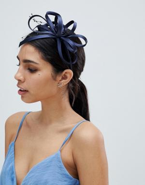 Elegance Вуалетка с жемчужной отделкой. Цвет: темно-синий