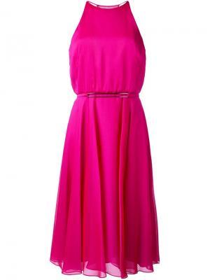 Платье с вырезом-халтер Halston Heritage. Цвет: розовый и фиолетовый