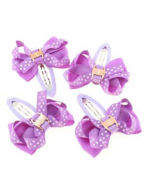 Бантики на заколке, в крупный горох, фиолетовые, 4 шт Радужки. Цвет: фиолетовый