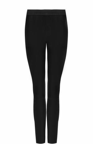 Кожаные брюки-скинни DROMe. Цвет: черный