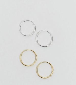 ASOS Комплект из 2 серебряных серег-колец диаметром 9 мм. Цвет: мульти