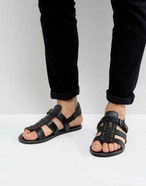 ASOS Черные кожаные сандалии с заклепками. Цвет: черный