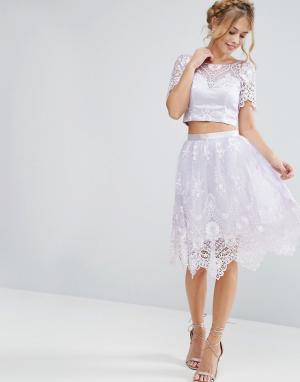 Chi London Кружевная юбка миди с фигурной отделкой. Цвет: фиолетовый