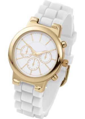 Часы на силиконовом браслете (белый/золотистый) bonprix. Цвет: белый/золотистый