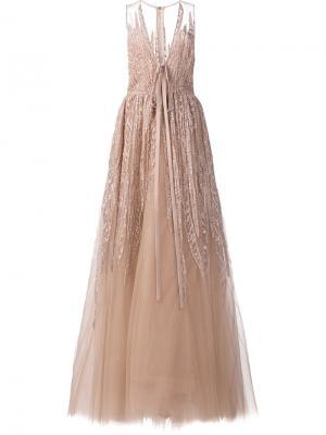 Длинное платье с вышивкой и пайетками Elie Saab. Цвет: телесный