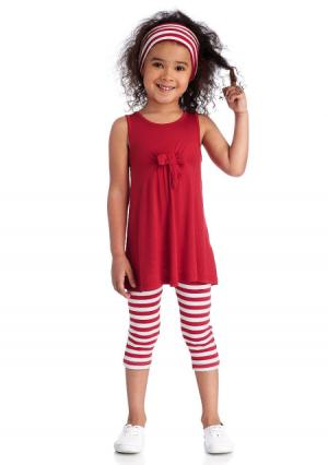 Комплект: платье, легинсы и лента для волос Colors for Life. Цвет: красный в полоску