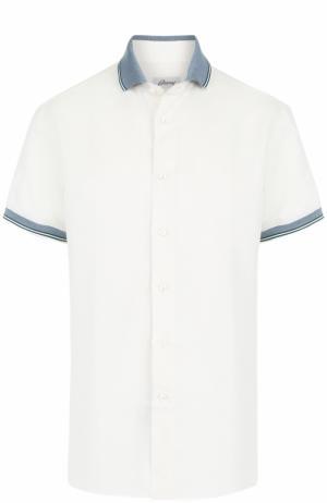 Рубашка из смеси льна и хлопка с короткими рукавами Brioni. Цвет: светло-бежевый