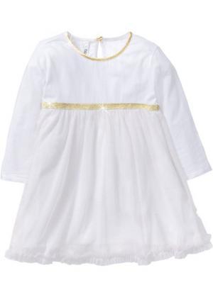 Платье ангела (белый/золотистый с блестками) bonprix. Цвет: белый/золотистый с блестками