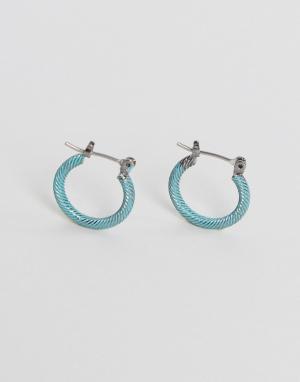ASOS Металлические серьги-кольца с покрытием. Цвет: серебряный