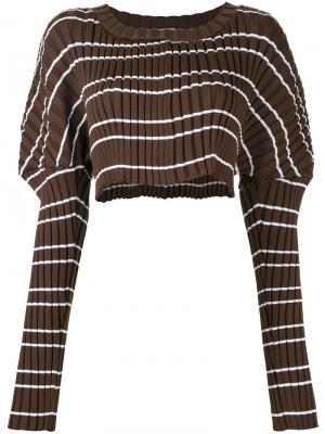 Укороченный свитер с ребристой фактурой Mikio Sakabe. Цвет: коричневый