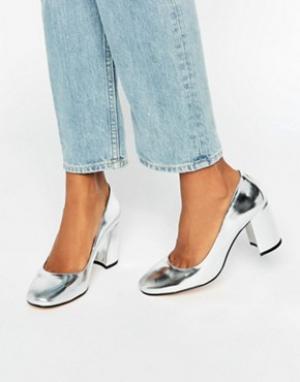 Dune Серебристые кожаные туфли на каблуке с квадратным носком Abell. Цвет: серебряный