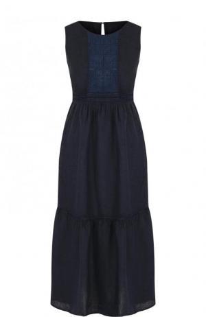 Приталенное льняное платье-миди без рукавов 120% Lino. Цвет: темно-синий