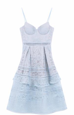 Кружевное платье-миди без рукавов self-portrait. Цвет: голубой