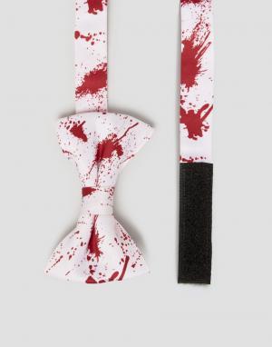 SSDD Галстук-бабочка с принтом брызг крови Halloween. Цвет: красный