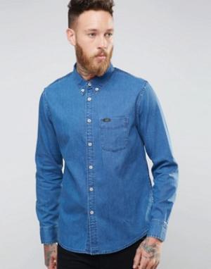 Lee Синяя джинсовая рубашка на пуговицах. Цвет: синий