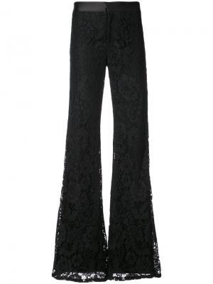 Расклешенные брюки с кружевной вышивкой Alexis. Цвет: чёрный