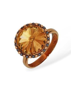 Кольцо Enigme с медовыми кристаллами Swarovski Mademoiselle Jolie Paris. Цвет: темно-коричневый, терракотовый, коричневый, бронзовый, светло-коричневый, рыжий, светло-оранжевый, оранжевый, золотистый, желтый
