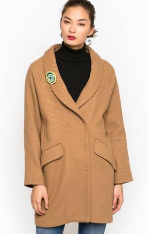 Пальто на кнопках из шерсти и полиэстера THINK CHIC. Цвет: коричневый