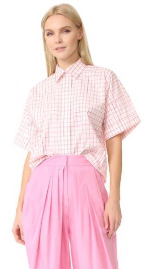 Блуза в клетку с короткими рукавами Vika Gazinskaya. Цвет: розовый