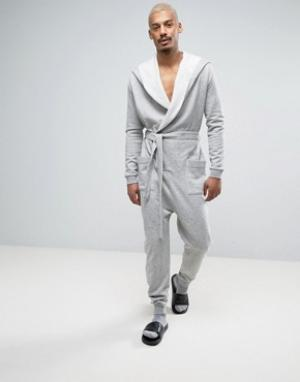 ASOS Серый меланжевый комбинезон-халат. Цвет: серый