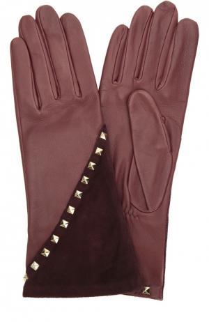 Кожаные перчатки с отделкой из замши и заклепками Agnelle. Цвет: бордовый