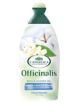 Гель для душа и ванны ЧУВСТВИТЕЛЬНОЙ кожи с экстрактами белого мускуса хлопка  500 мл L'Angelica. Цвет: белый