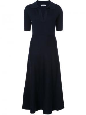 Трикотажное платье-поло Bourgeois Gabriela Hearst. Цвет: синий