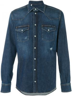 Джинсовая рубашка с эффектом поношенности Western Dolce & Gabbana. Цвет: синий