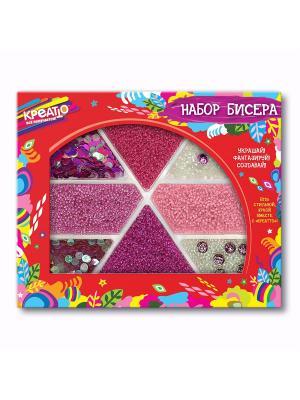Набор бисера Яркие мечты КРЕАТТО. Цвет: красный, розовый, белый