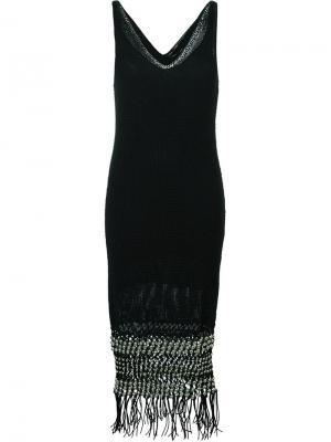 Трикотажное платье с V-образным вырезом Proenza Schouler. Цвет: чёрный