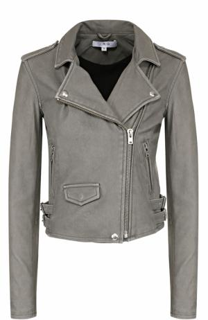 Укороченная кожаная куртка с косой молнией Iro. Цвет: темно-серый