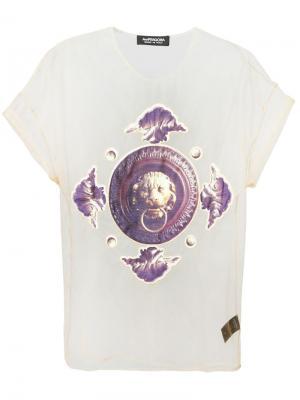 Прозрачная футболка с фото-принтом Antpitagora. Цвет: телесный