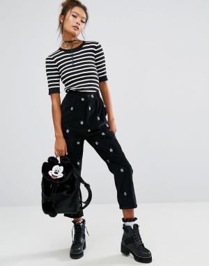 Lazy Oaf Вельветовые брюки с Микки-Маусом X Disney. Цвет: черный