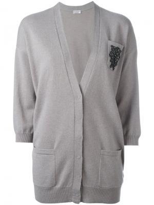 Embroidered cardigan Brunello Cucinelli. Цвет: серый