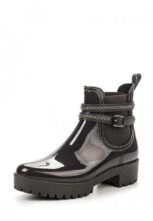 Резиновые полусапоги Ideal Shoes. Цвет: серый