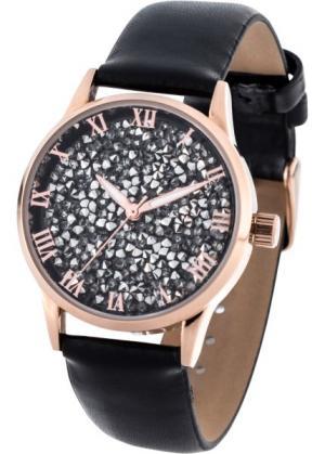 Часы с блестками (черный) bonprix. Цвет: черный
