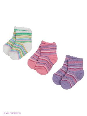 Носки, 3 пары Гамма. Цвет: сиреневый, белый, розовый