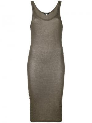 Облегающее платье в рубчик Unconditional. Цвет: серый