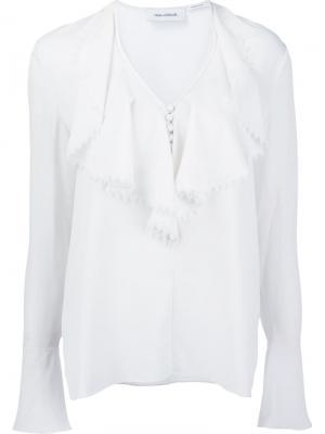 Блузка Ruffle Front Yigal Azrouel. Цвет: белый