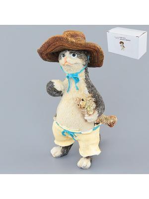 Фигурка декоративная Кот - рыбак Elan Gallery. Цвет: серый, коричневый, белый