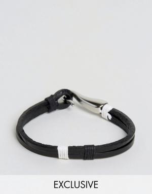 Seven London Кожаный браслет с крюком эксклюзивно для ASOS. Цвет: черный