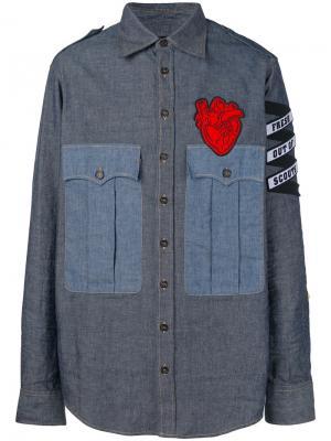 Джинсовая рубашка с аппликацией Dsquared2. Цвет: синий