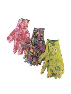 Перчатки садовые с защитным покрытием, 3 пары в ассортименте ЭТАЛОН. Цвет: светло-зеленый, бордовый, персиковый