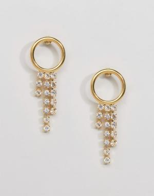 Gogo Philip Броские позолоченные серьги-кольца с подвесками. Цвет: золотой