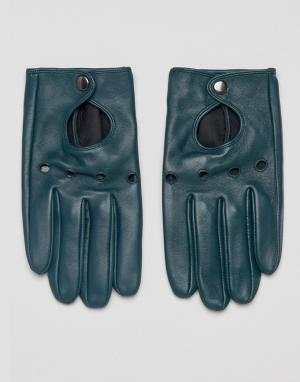 ASOS Зеленые кожаные перчатки. Цвет: зеленый