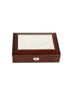 Шкатулка ювелирная MORETTO. Цвет: терракотовый, серебристый, светло-коричневый