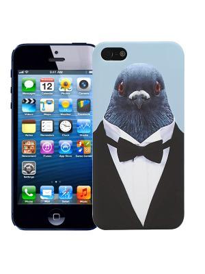 Чехол для iPhone 5/5s Голубь в костюме Kawaii Factory. Цвет: черный, синий