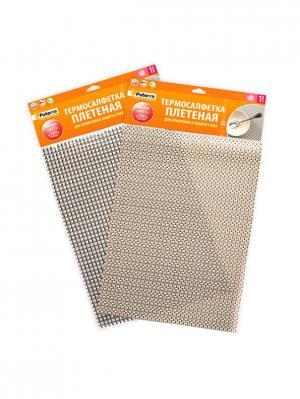 Термосалфетка, плетёная, для сервировки и защиты стола. PATERRA. Цвет: коричневый, золотистый