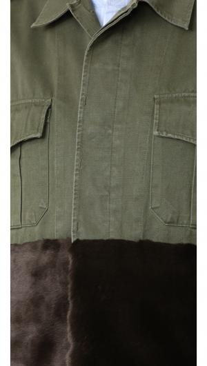Military Jacket with Faux Fur Trim Harvey Faircloth