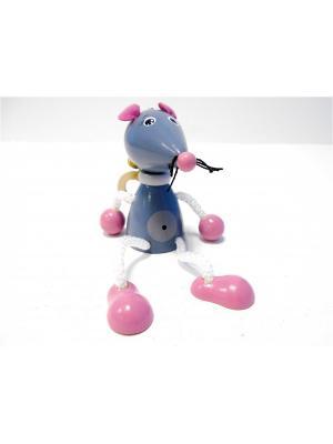 Игрушка подвеска на пружине - Мышь Taowa. Цвет: серый, розовый
